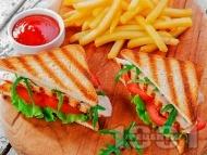 Рецепта Пилешки клуб сандвич с гриловани пилешки гърди